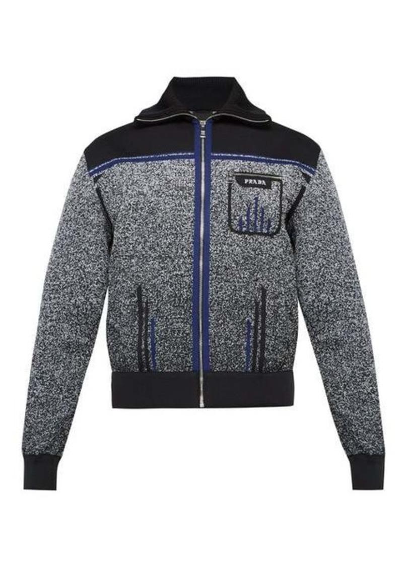 Prada Melange technical-knit track jacket