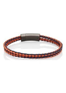 Prada Men's Braided Leather Double-Band Bracelet - Orange