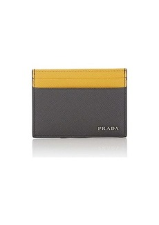 Prada Men's Colorblocked Leather Card Case - Gray
