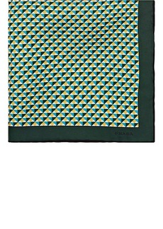 Prada Men's Geometric-Print Silk Twill Pocket Square