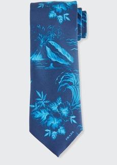 Prada Men's Hawaiian-Print Silk Twill Tie