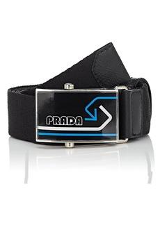 Prada Men's Leather-Trimmed Webbed Fabric Belt