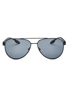 Prada Men's Linea Rossa Polarized Mirrored Square Sunglasses, 58mm
