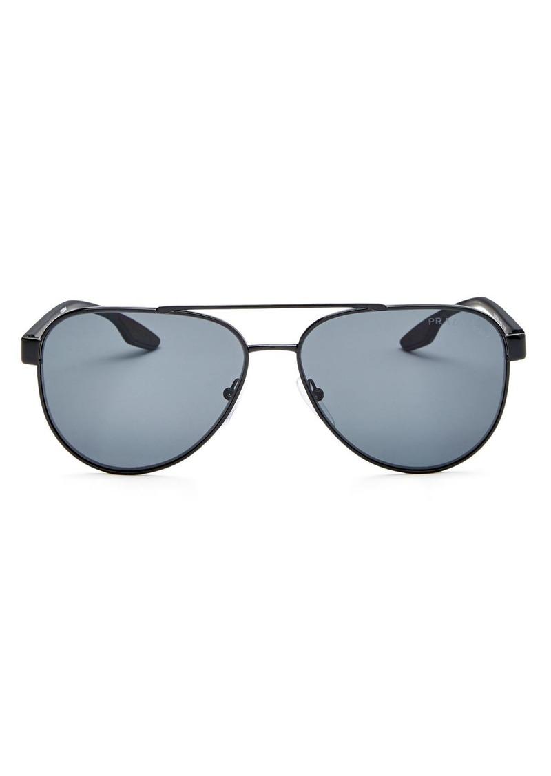 Prada Men's Linea Rossa Polarized Mirrored Square Sunglasses, 58mm