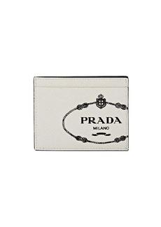 Prada Men's Logo Leather Card Case - White