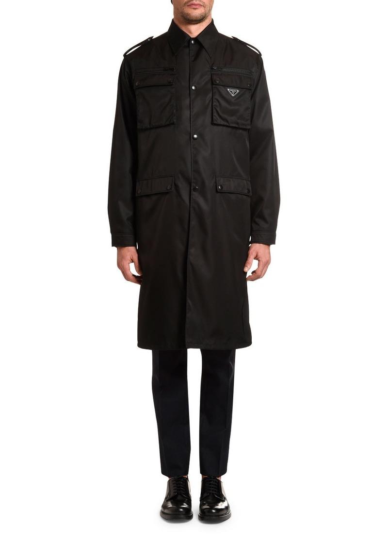Prada Men's Plaque-Logo Nylon Trench Coat