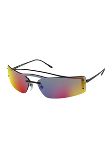 Prada Men's Rectangle Shield Sunglasses - Mirror Lens