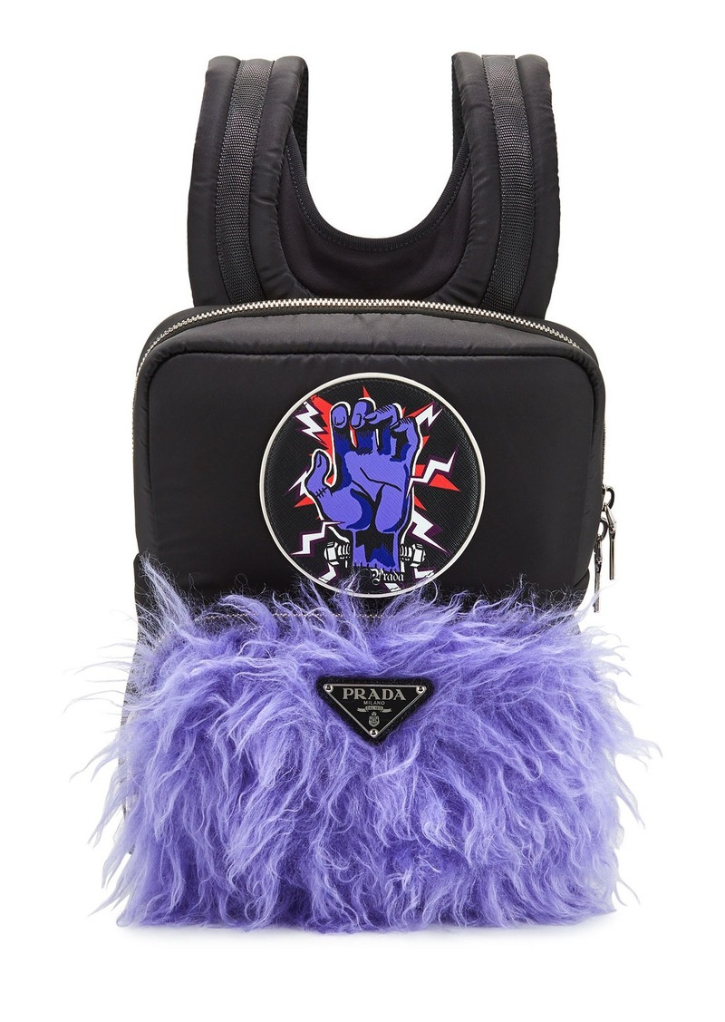 Prada Men's Tessuto Frankenstein Mohair Backpack