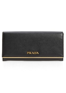 Prada Metal Bar Saffiano Leather Continental Wallet