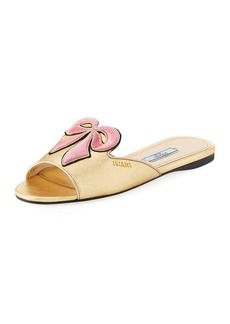 Prada Metallic Bow Slide Sandal