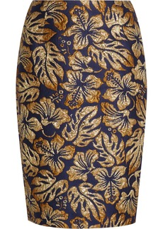 Prada Metallic Floral-jacquard Pencil Skirt
