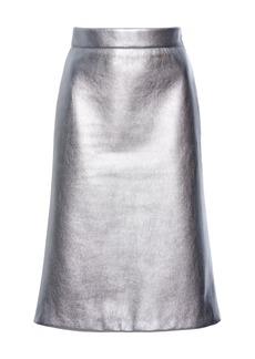 Prada Metallic High-Rise Knee-Length Skirt