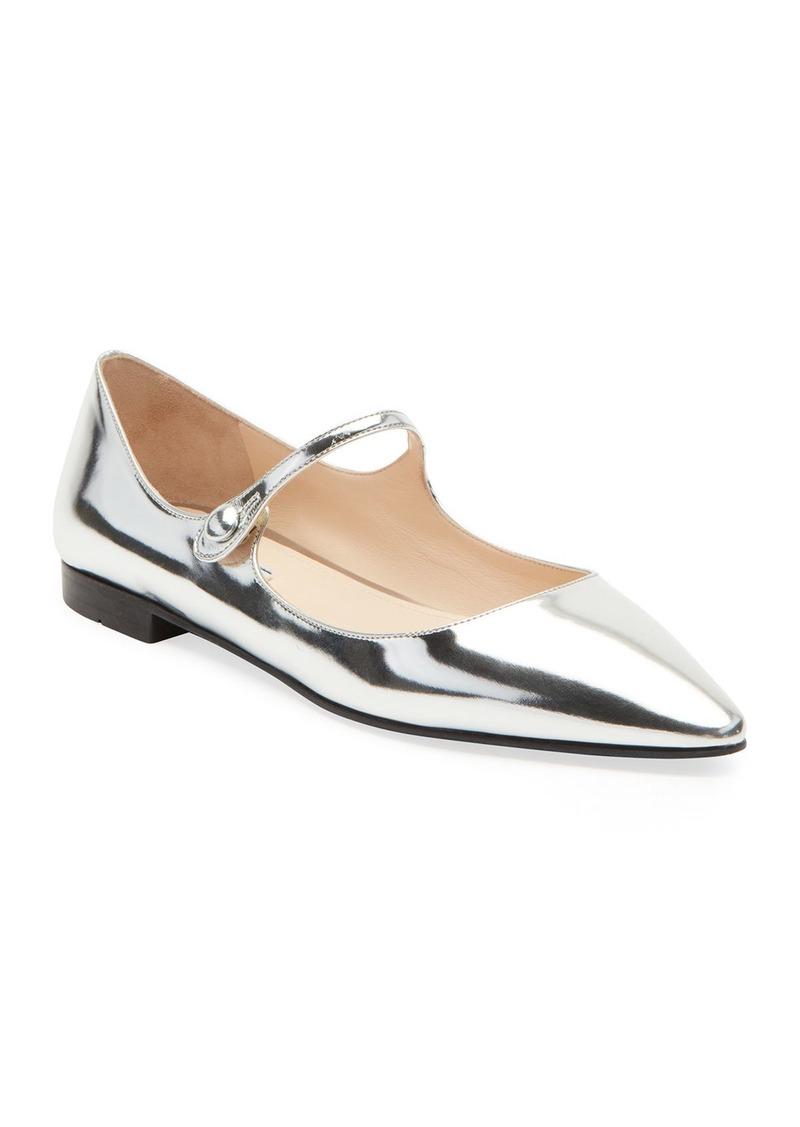 Prada Metallic Leather Mary Jane Ballet Flats