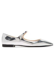 Prada Metallic-leather Mary-Jane flats