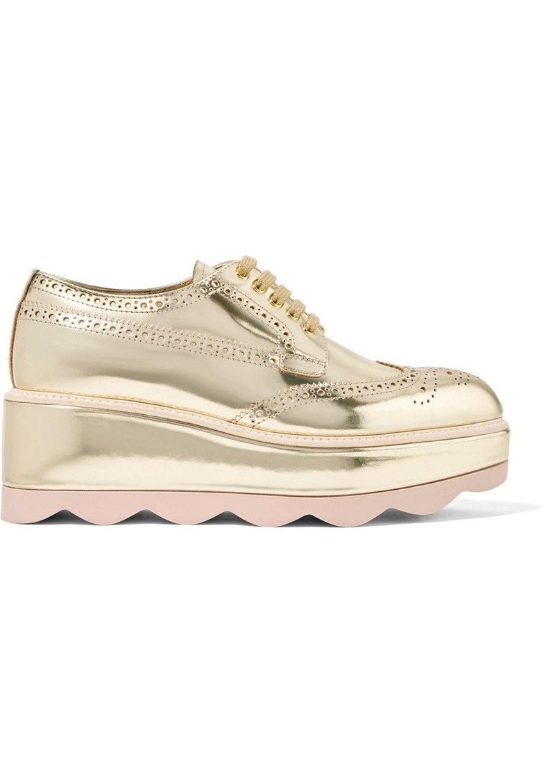 0c63c3aa3f81 Prada Prada Metallic leather platform brogues Now  448.00
