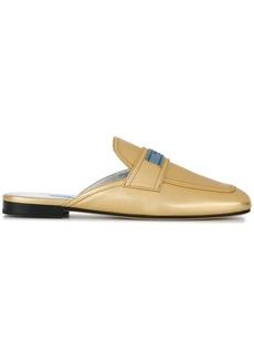 Prada metallic loafer mules
