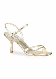 Prada Metallic Napa Ankle Sandals