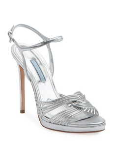 Prada Metallic Platform 115mm Sandals
