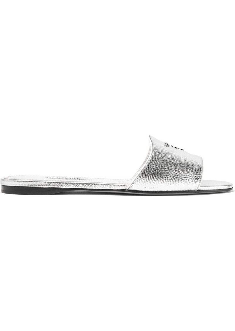 On Sale today! Prada Logo-embellished metallic textured-leather slides 591d5e08c56