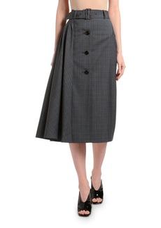 Prada Micro Plaid Button-Front Side-Draped Skirt