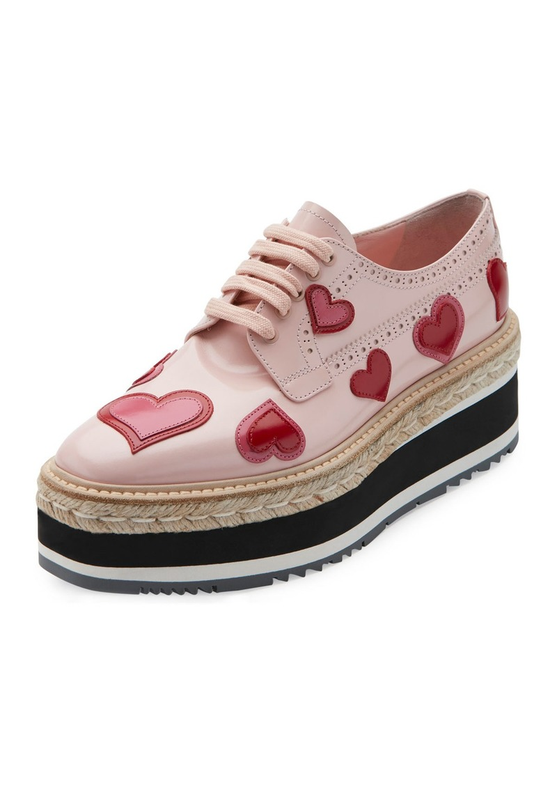 Prada Microsole Heart Platform Espadrille Sneaker
