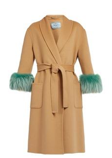 Prada Mink fur-cuff belted wool coat