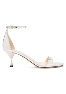 Prada Mirrored-leather kitten-heel sandals