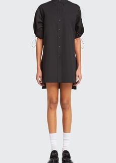 Prada Mixed-Media Puff-Drawcord Sleeve Shift Dress