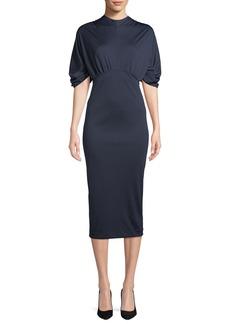 Prada Mock-Neck Puff-Sleeve Jersey Body-Con Midi Dress