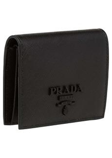 Prada Monochromatic Logo Saffiano Leather Wallet