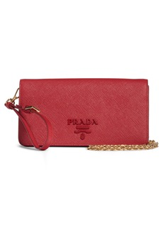 Prada Monochrome Saffiano Leather Wallet on a Chain