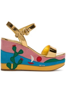Prada Gold Cactus 105 platform wedges - Metallic