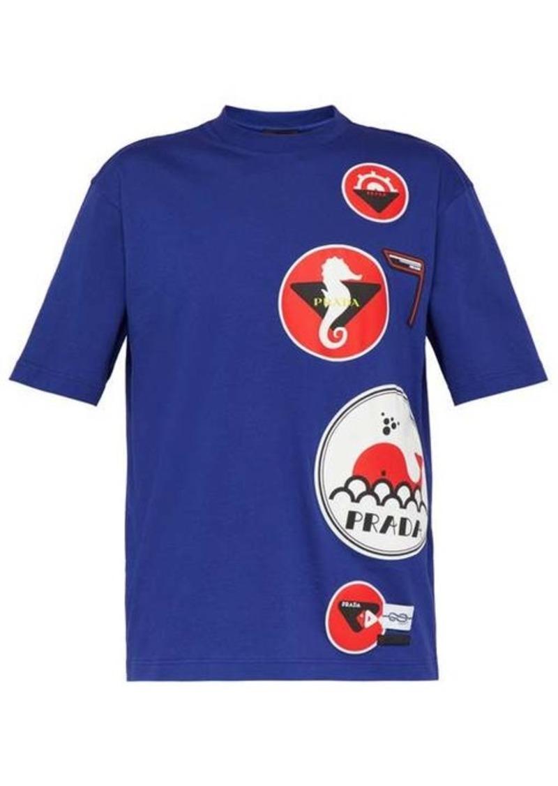 Prada Nautical-appliqué cotton T-shirt