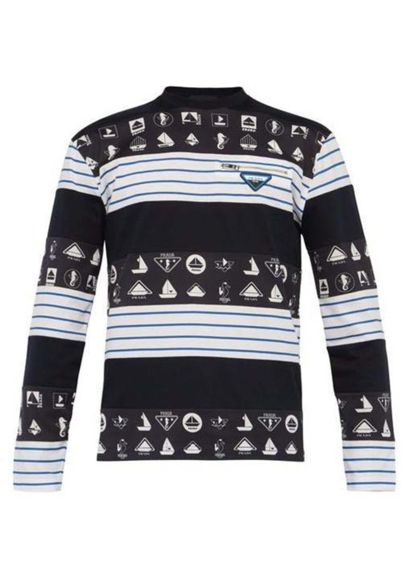 Prada Nautical-print long-sleeved cotton T-shirt