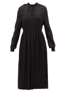 Prada Neck-tie silk-crepe midi dress