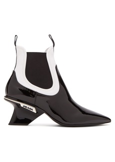 Prada Neoprene and patent-leather chelsea boots