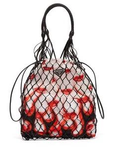 Prada Netted faux leather lipstick-print bag