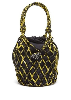 Prada Netted printed-nylon and leather bucket bag