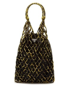 Prada Netted printed-nylon tote bag