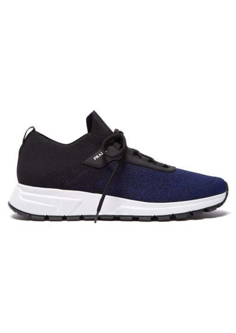 Prada New Match leather-trimmed knit trainers