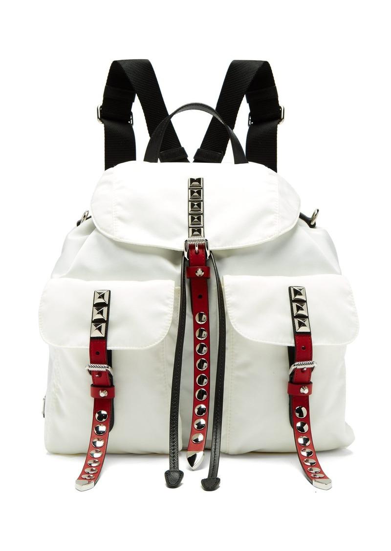 9859a6aac876 Prada Prada New Vela studded nylon and leather backpack