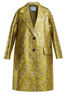 Prada Notch-lapel floral-brocade coat