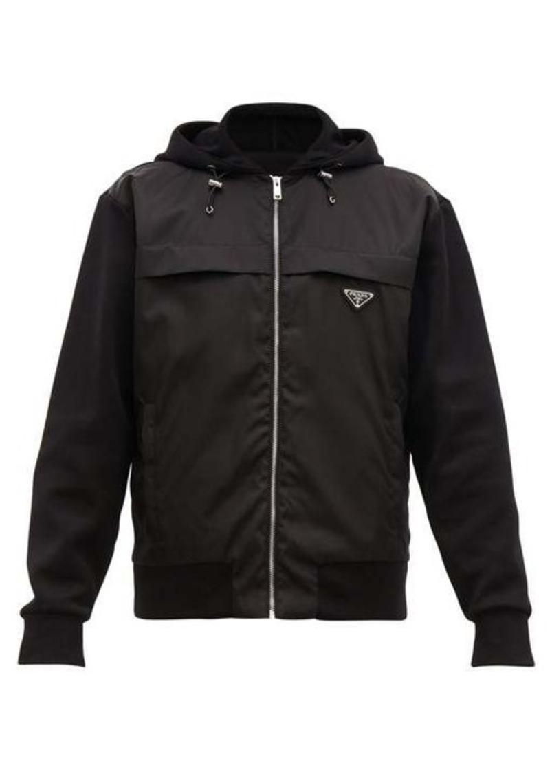Prada Nylon-panel zip-through cotton hooded sweatshirt