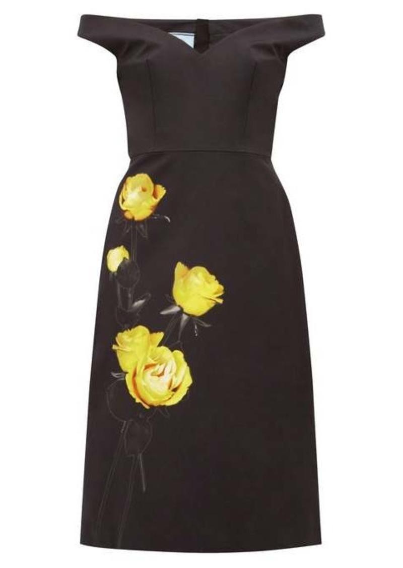 Prada Off-the-shoulder floral-print cotton dress