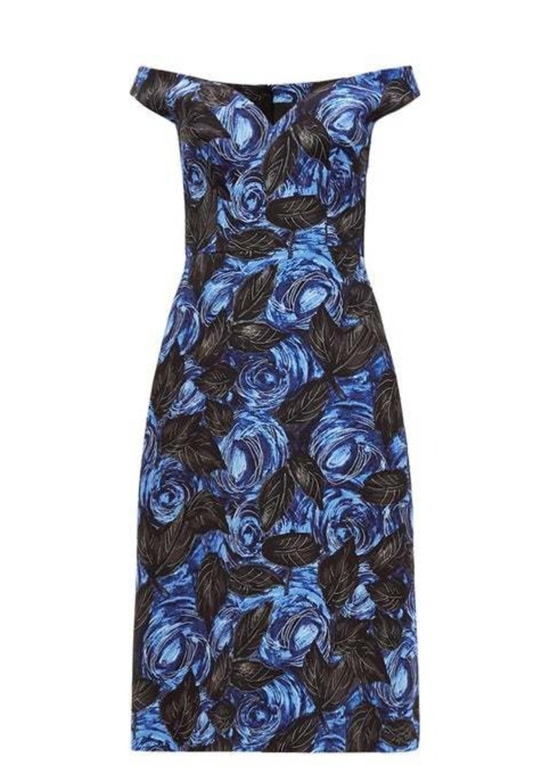 Prada Off-the-shoulder floral-print twill dress