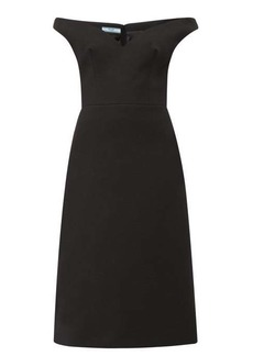 Prada Off-the-shoulder wool-twill dress