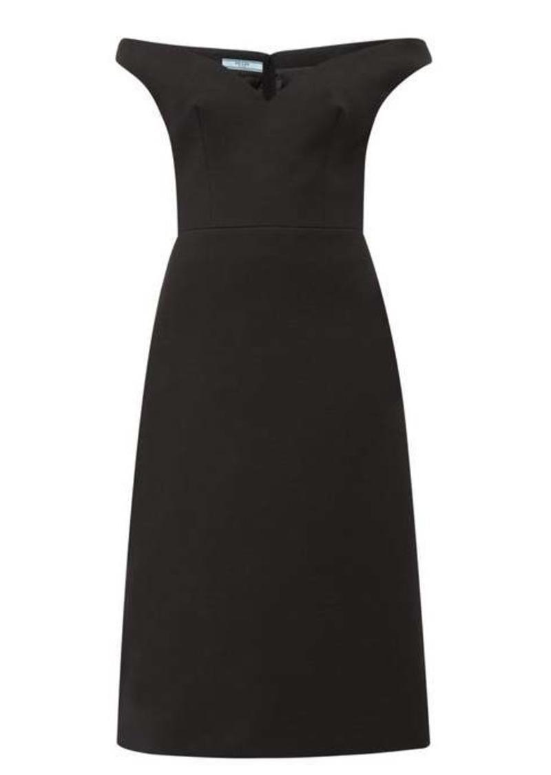 Prada Off-the-shoulder wool-twill dress