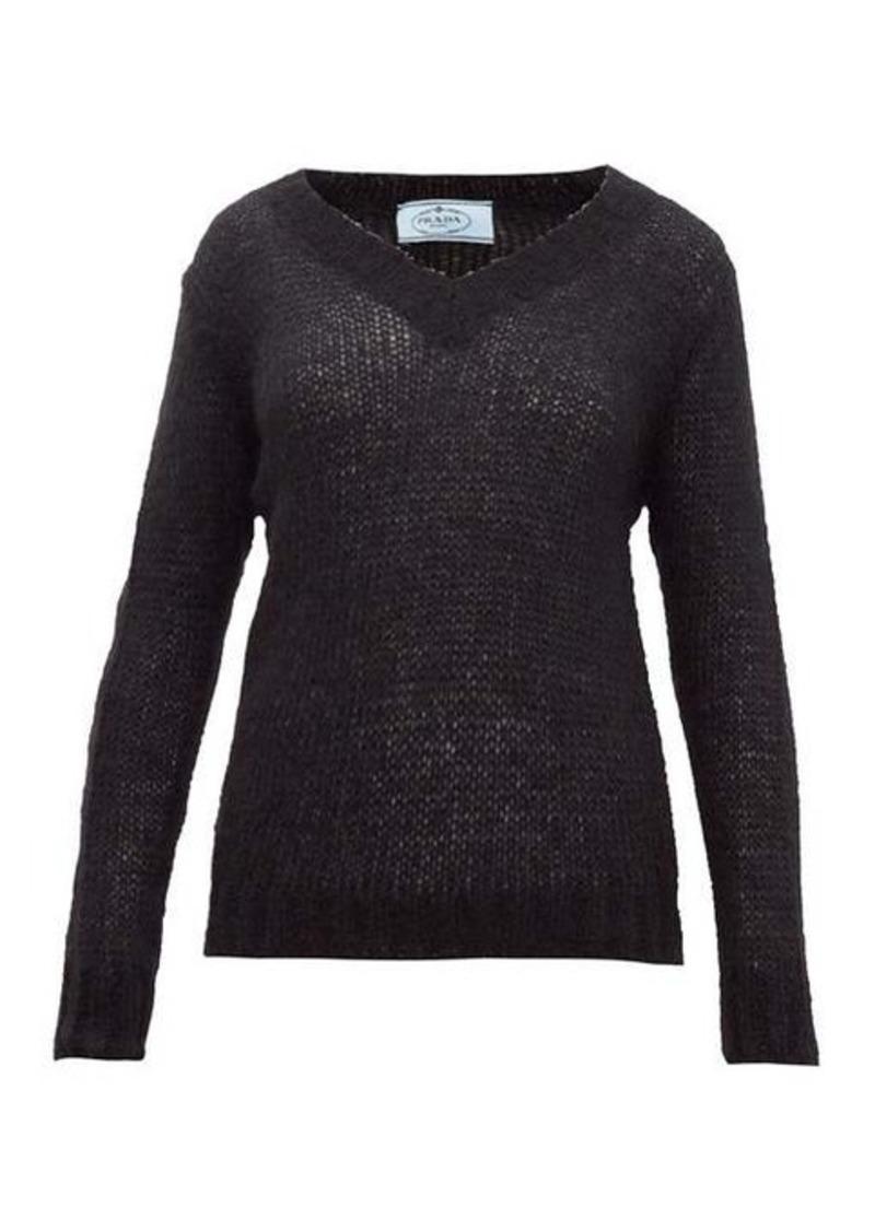 Prada Open-knit mohair-blend sweater