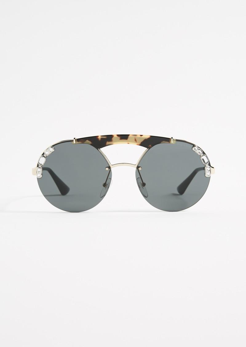 6e052b8e6d12 Prada Prada Ornate Crystal Round Sunglasses
