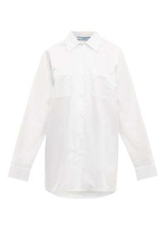 Prada Oversized bow-embellished cotton-poplin shirt